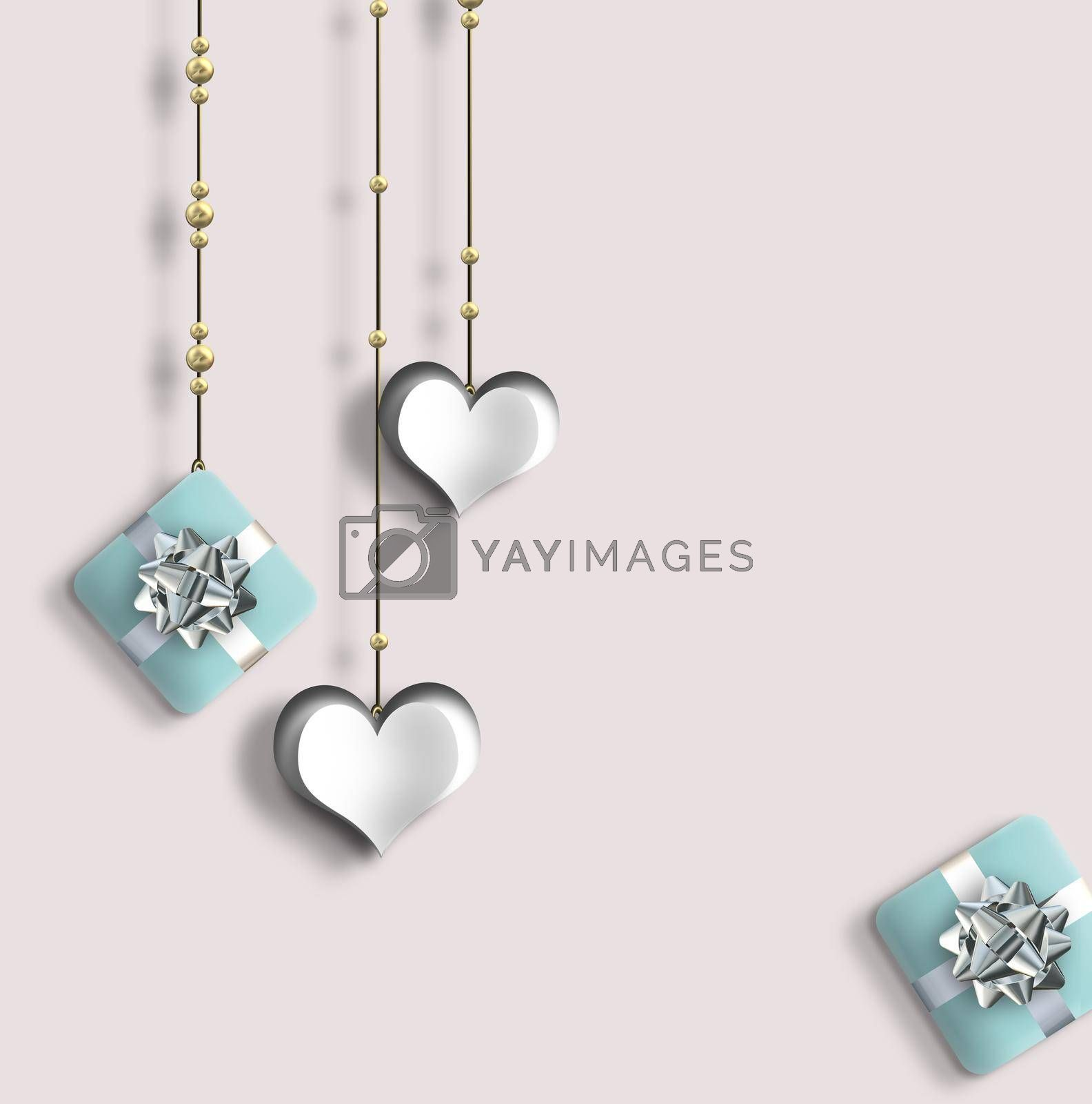 Pretty love card, Valentines card with hanging paper hearts, gift boxes on pastel pink background. 3D Illustration