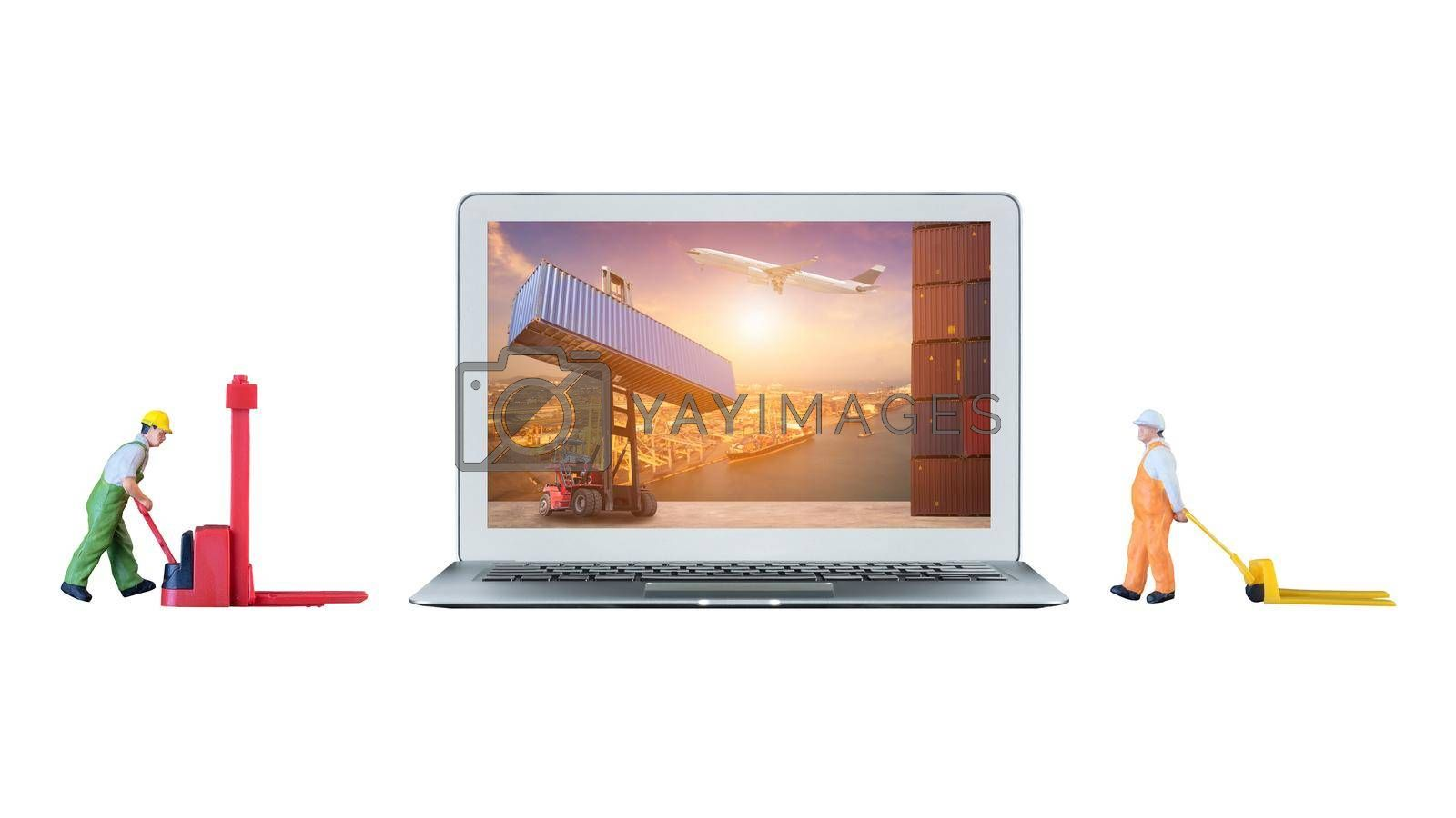 Smart laptop computer is showing logistic concept on screen and miniature worker people stand beside the laptop computer.Elegant Design for global shipping,Logistic,Import and Export industry.