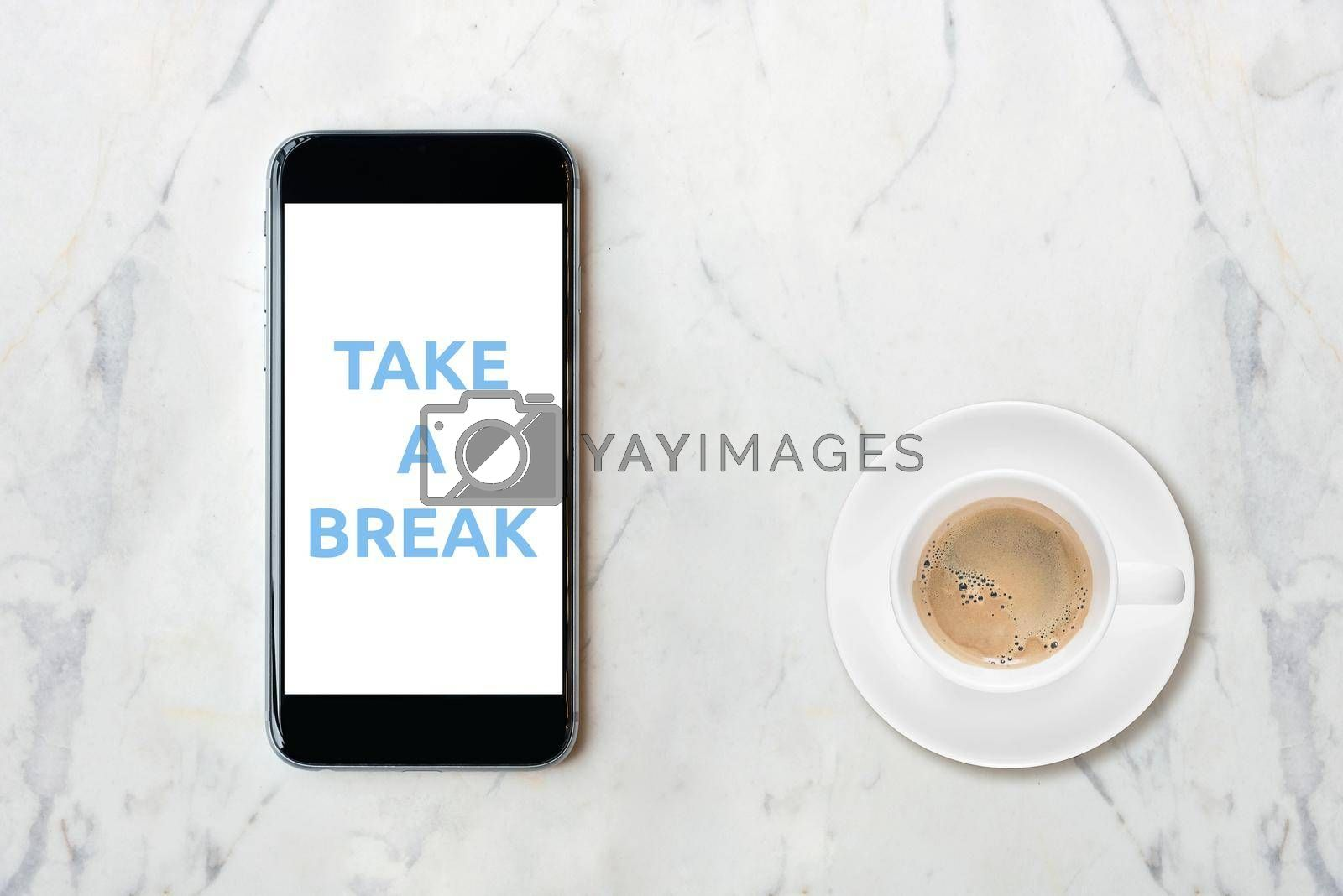 Smartphone with blank white screen and coffee cup on marble table. Elegant Design with Space for placement your background,Template mock up for montage your design and products