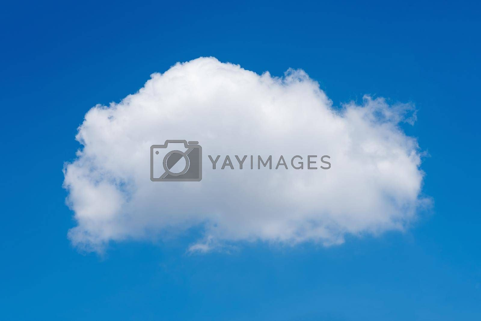 Single nature white cloud on blue sky background in daytime, photo of nature cloud for freedom and nature concept