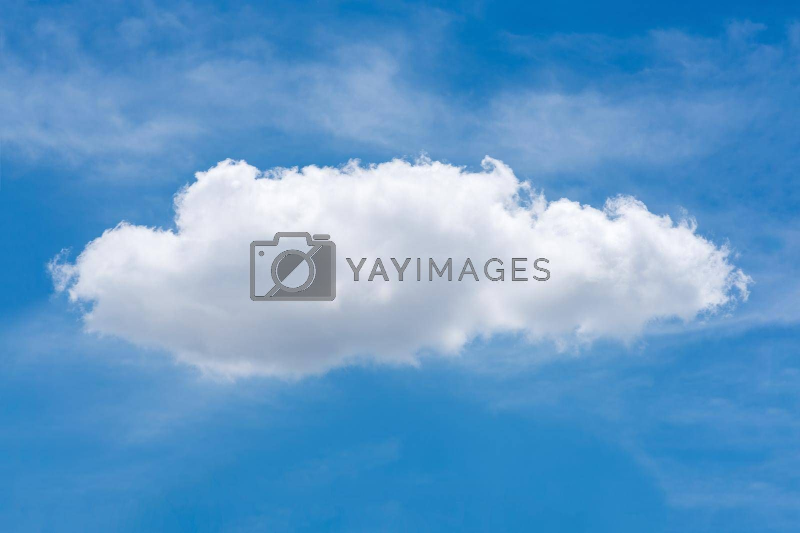 Single nature white cloud on blue sky background in daytime, photo of nature cloud for freedom and nature concept.
