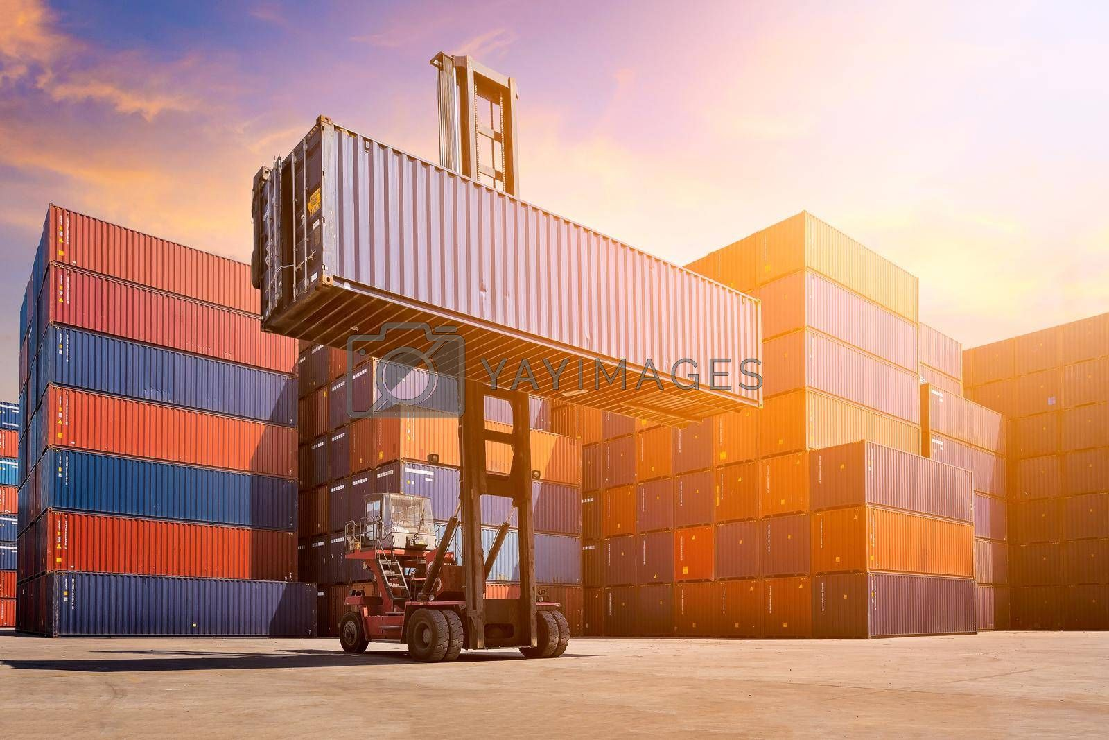 Logistic cargo container in shipping yard with cargo container stack in background. Photo concept for Global business shipping,Logistic,Import and Export industries.