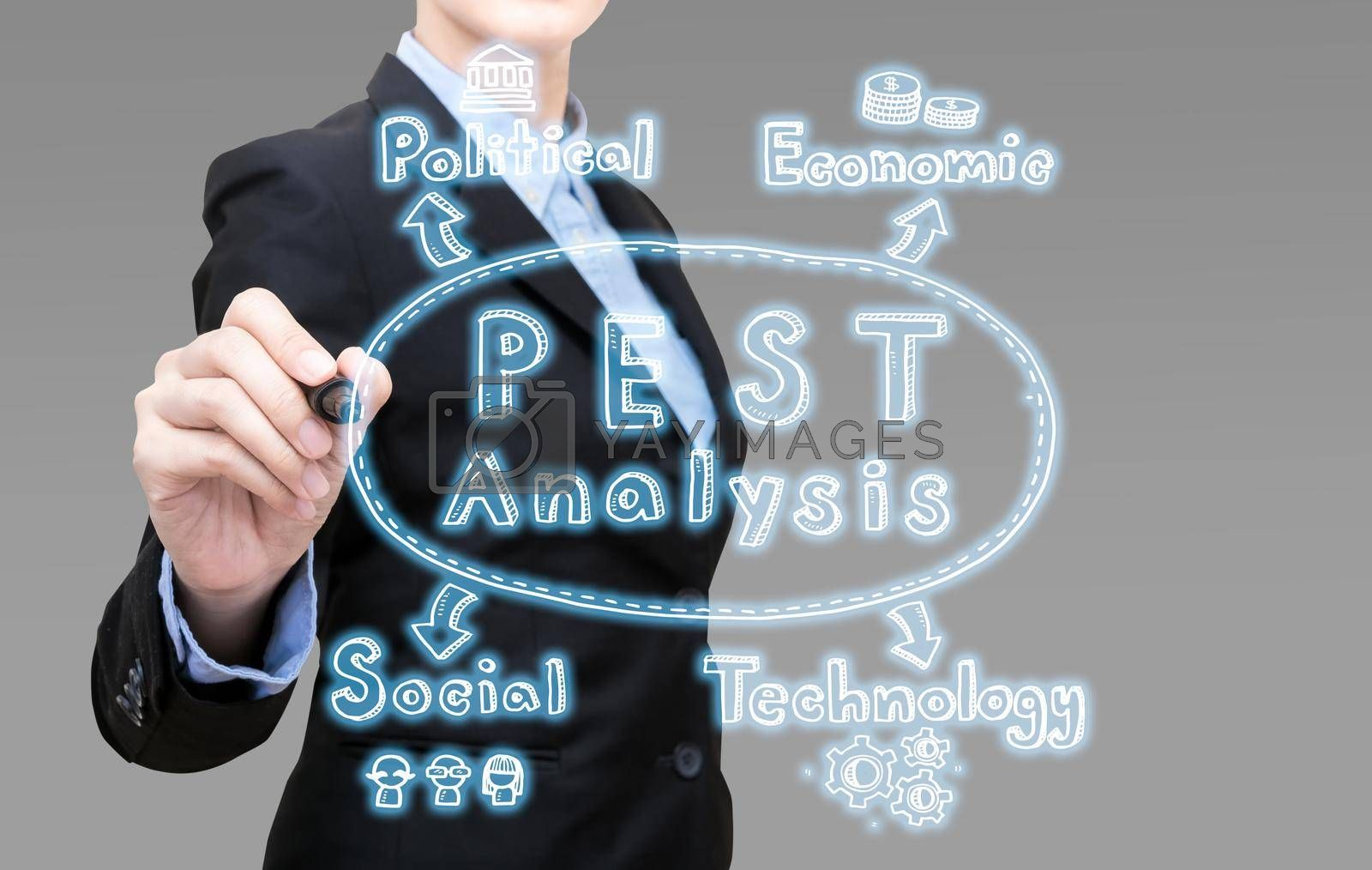Young Smart business woman writing PEST analysis idea concept. Elegant Design for smart business,business planing and business idea concept