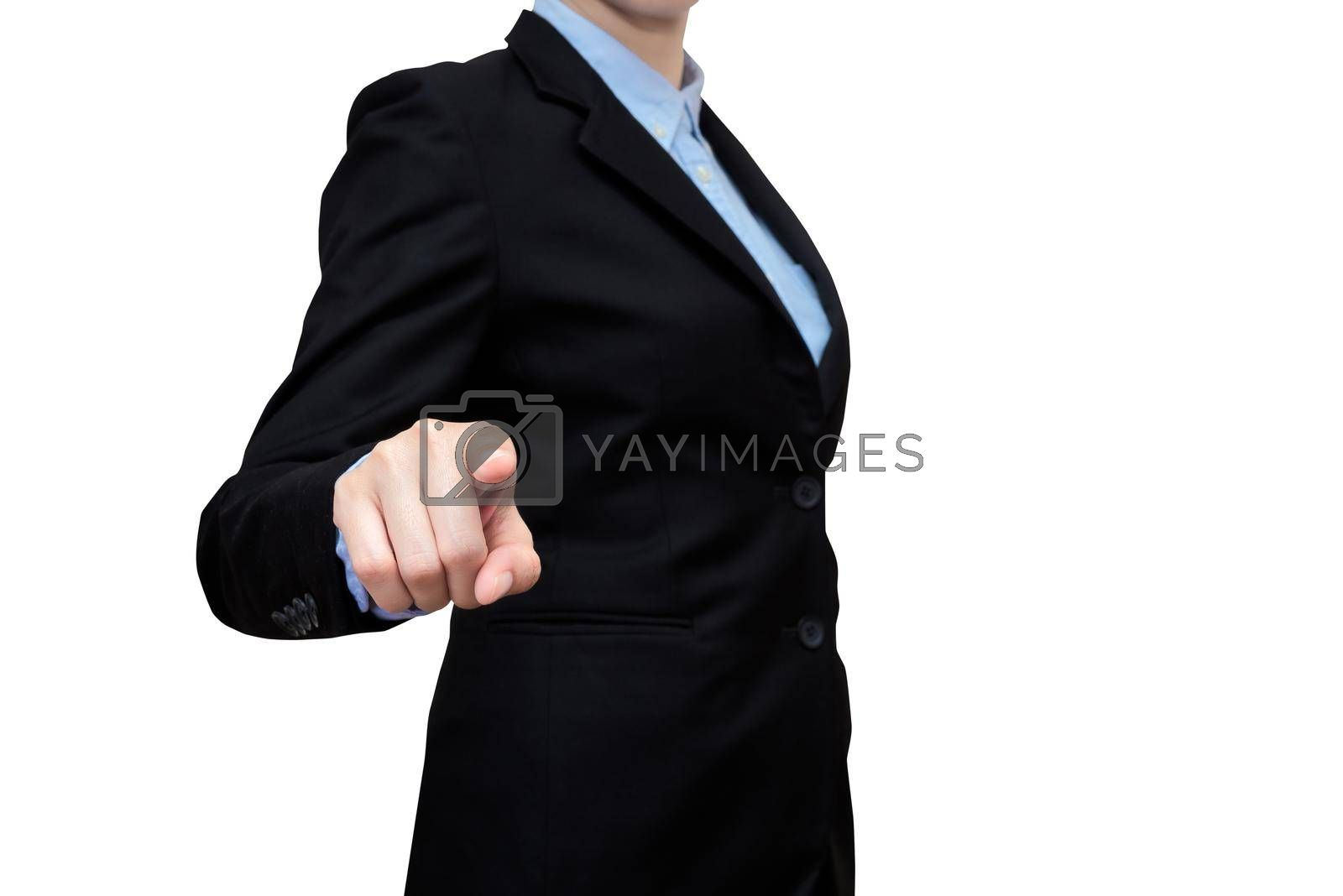 Smart business women show touch finger on white background. Elegant Design with copy space for smart business,business planing and business innovation idea concept