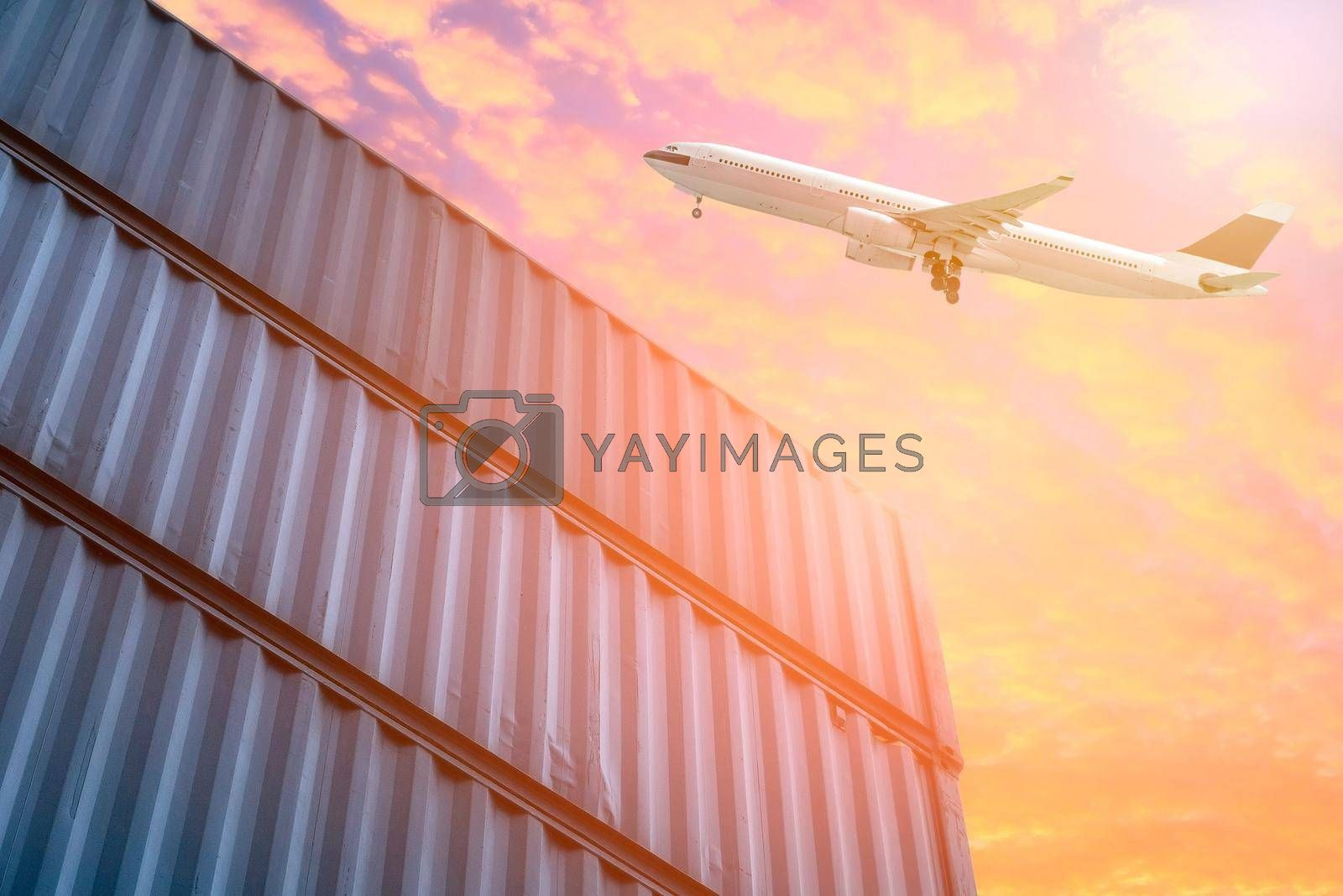 Logistics and transportation of Cargo plane in shipping yard. Photo concept for global business containers shipping,Logistic,Import and Export industry