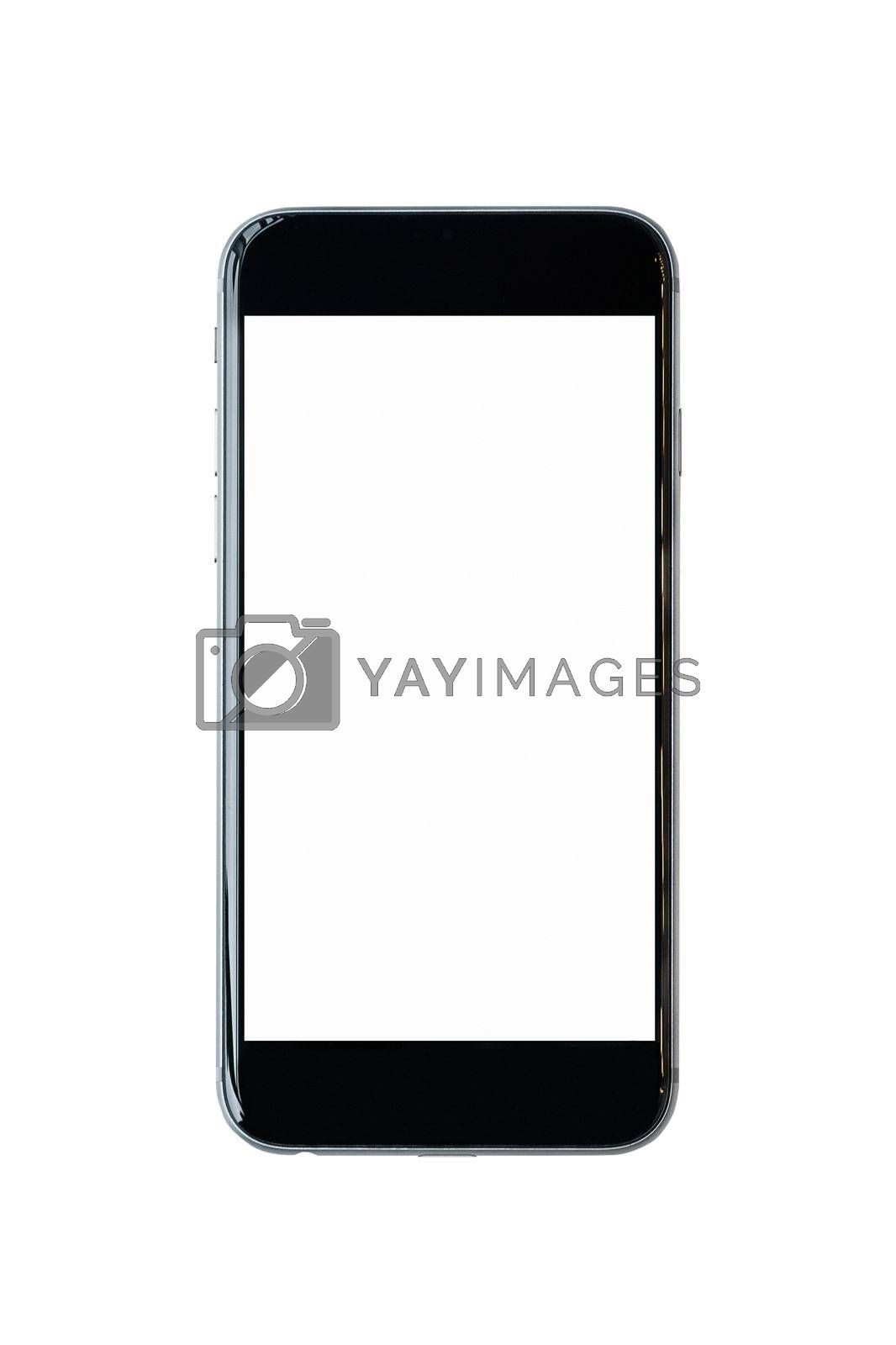 Smartphone with blank white screen and copy-space on white background. Elegant Design with Space for placement your background,Template mock up for montage your design and products