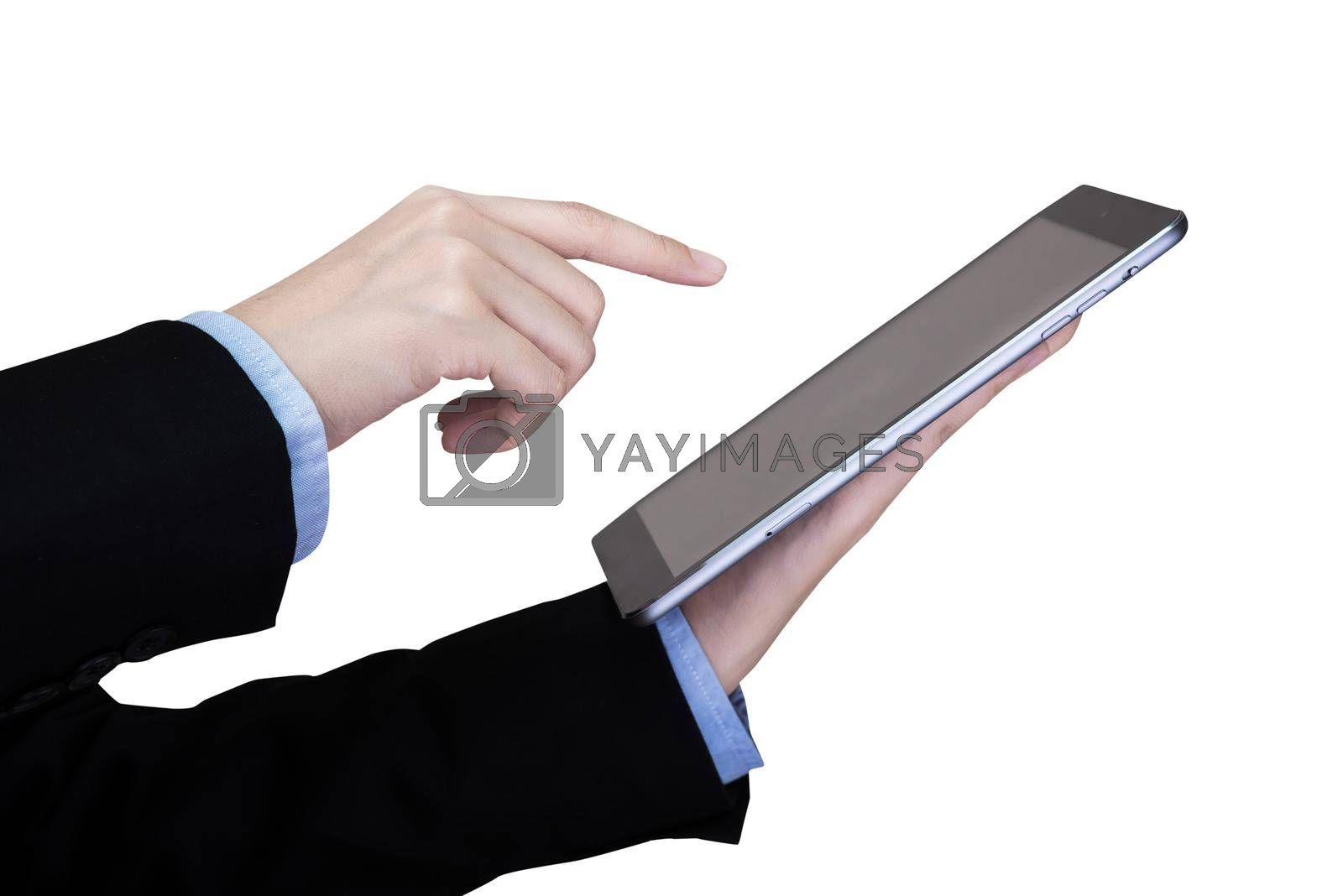 Smart business women play a smart tablet isolate on white background. Elegant Design with Space for placement your wording, graphic and template for business concept