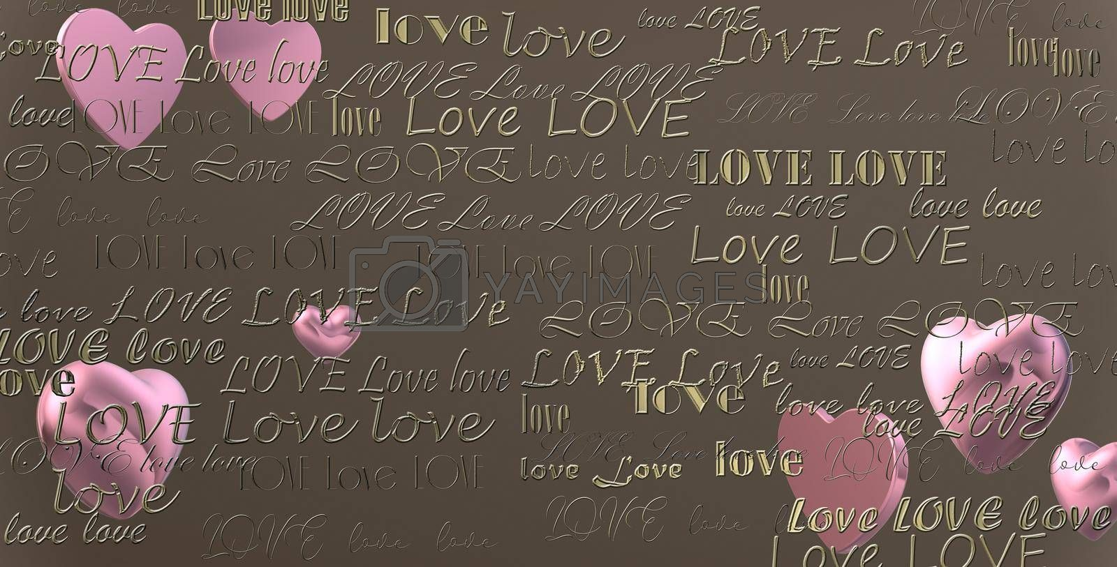 Gold text LOVE on dark pastel background and pink hearts. 3D illustration
