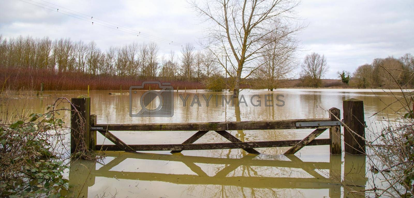 Flood water in fields, UK countryside, 2021. Climate change, extreme weather, global warming. Global floods risk under climate change. Flooded wooden filed gate