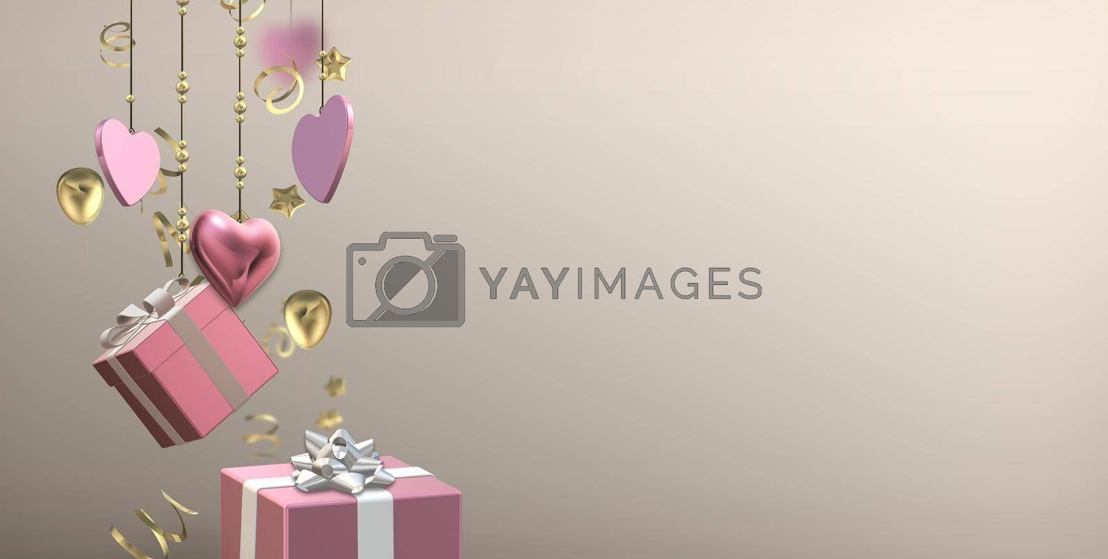 Love hearts, 3D gift boxes on pastel background. Valentines, Love, party invitation, mothers day, 8th March, wedding, greeting card. Place for text, copy space. Horizontal elegant design. 3D render