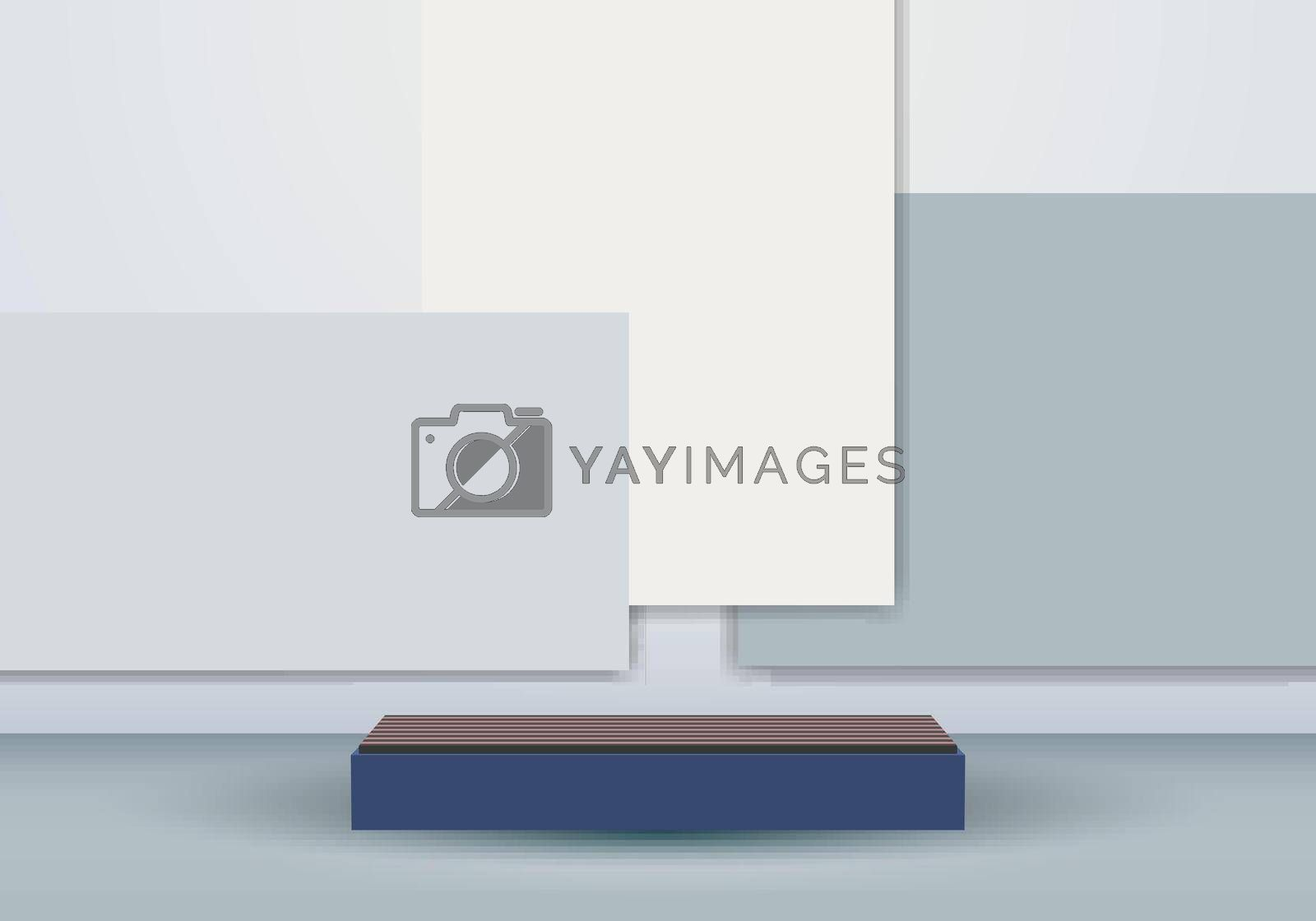3D blue podium minimal gray geometric scene background. You can use for cosmetic products. Stage showcase platform modern studio. Vector illustration