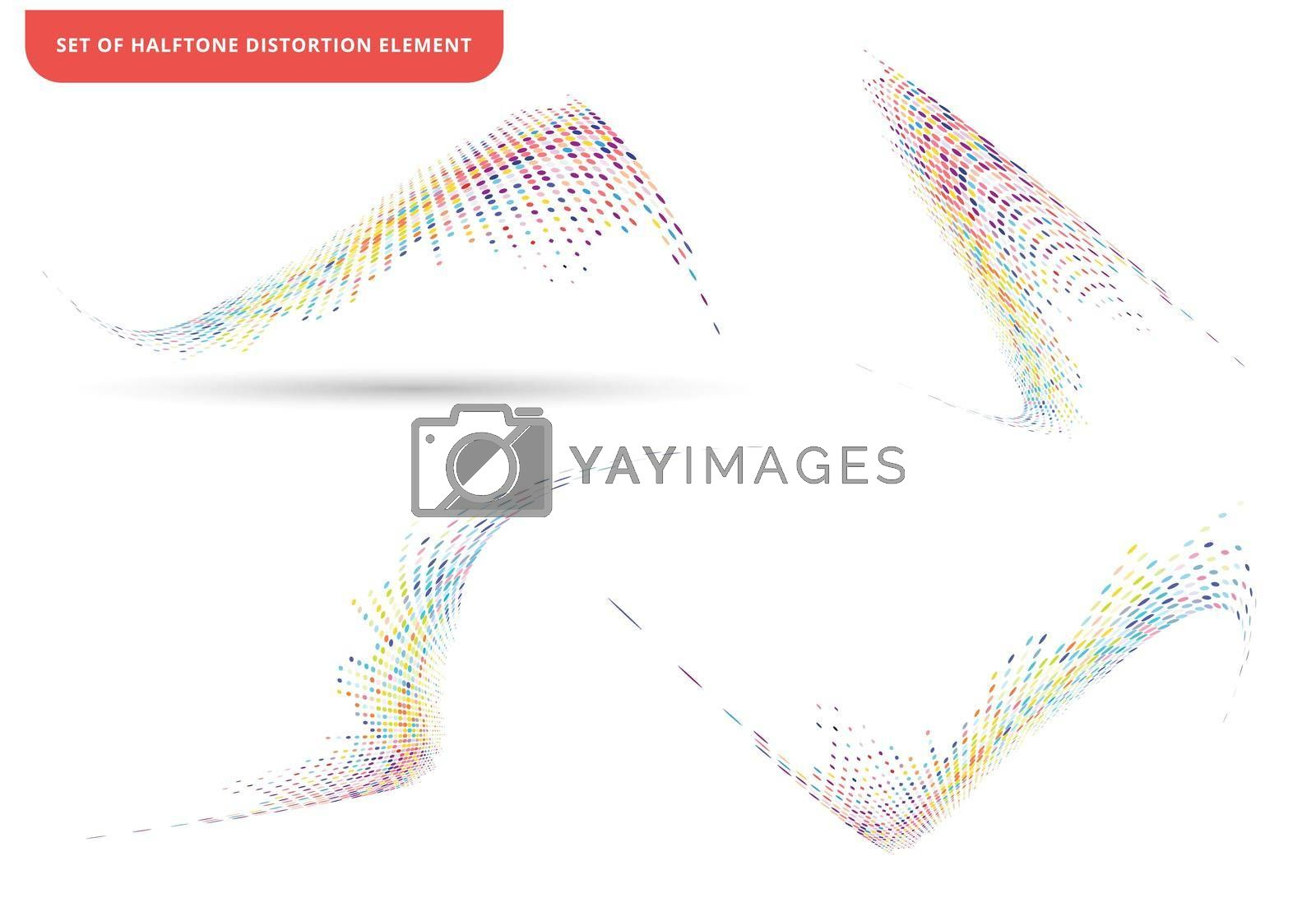 Set of abstract elements colorful halftone texture dots pattern wave or distortion isolated on white background. vector illustration