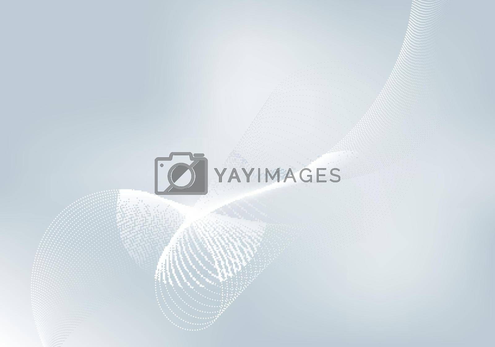 Abstract white flowing particles on gray background with lighting technology digital futuristic concept. Vector illustration