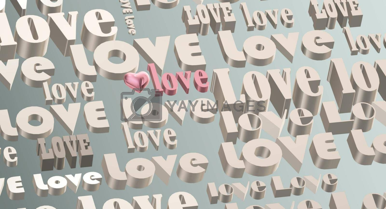 Gold multi words LOVE on pastel green background, 3D pink heart. Valentines, Love, party invitation, mothers day, 8th March, wedding, greeting card. Place for text. Elegant pink love design. 3D render