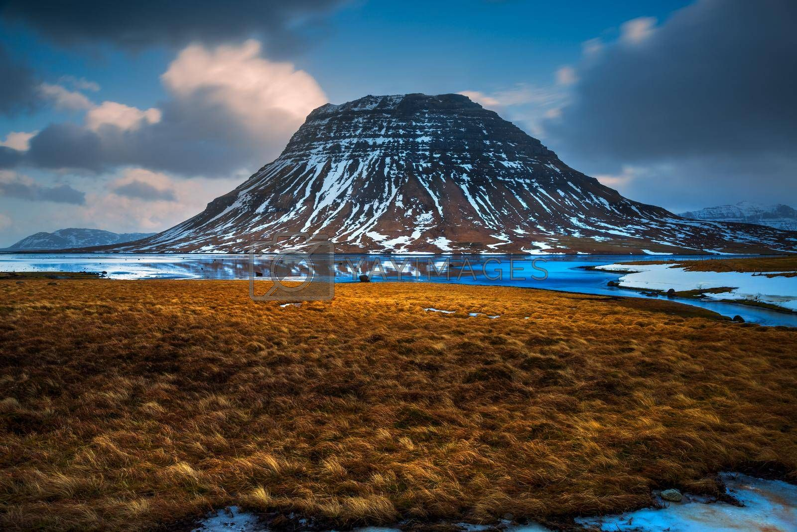 Amazing Winter View on the Snowy High Mountains. Extreme Nature Travel Destination. Picturesque Landscape of Icelandic Lands. Iceland.