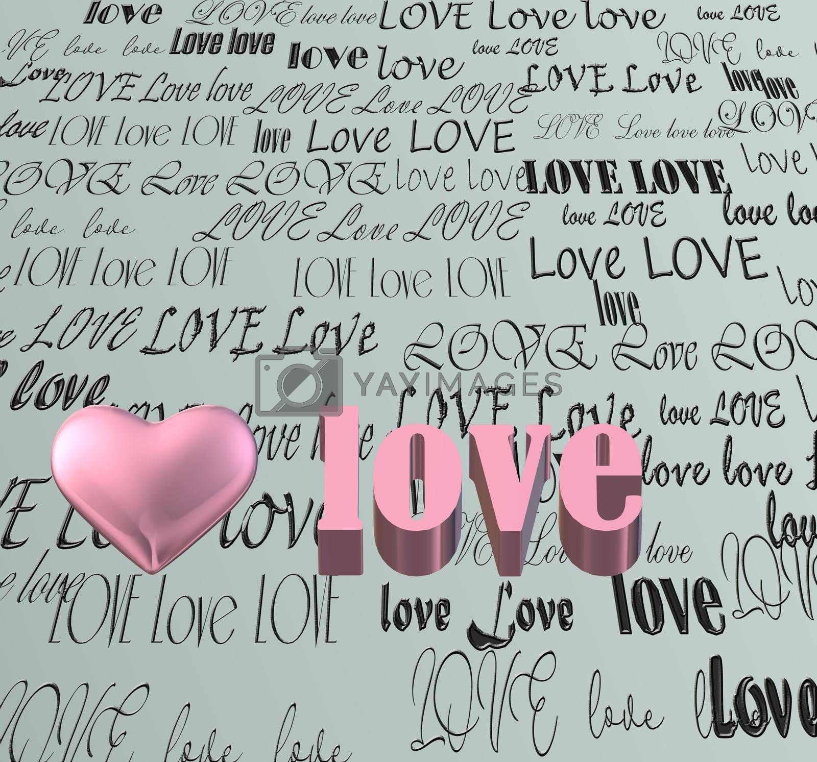 words LOVE on pastel green background, 3D pink heart. Valentines, Love, party invitation, mothers day, 8th March, wedding, greeting card. Place for text. Elegant pink love design. 3D render