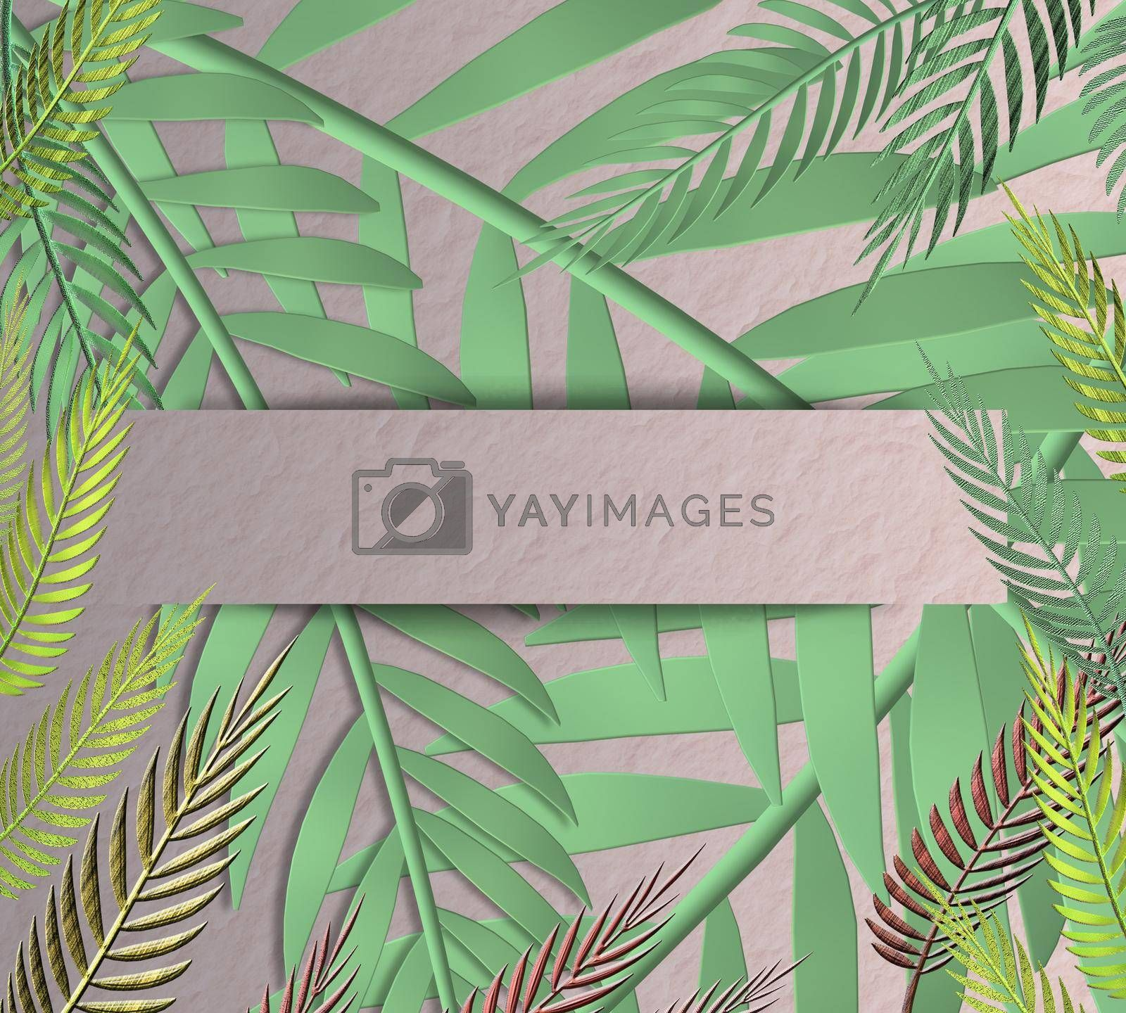 Tropical leaves in frame in paper strip on paper background. Place for text, mock up. Top view, flat lay. 3D illustration
