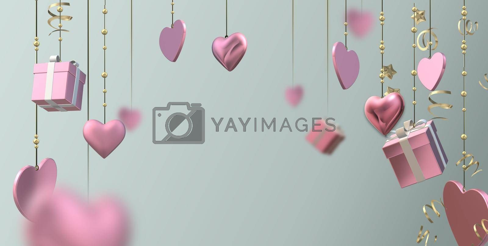 Pink hanging hearts, 3D gift boxes, confetti on pastel green background. Valentines, Love, party invitation, mothers day, 8th March, wedding, greeting card. 3D illustration
