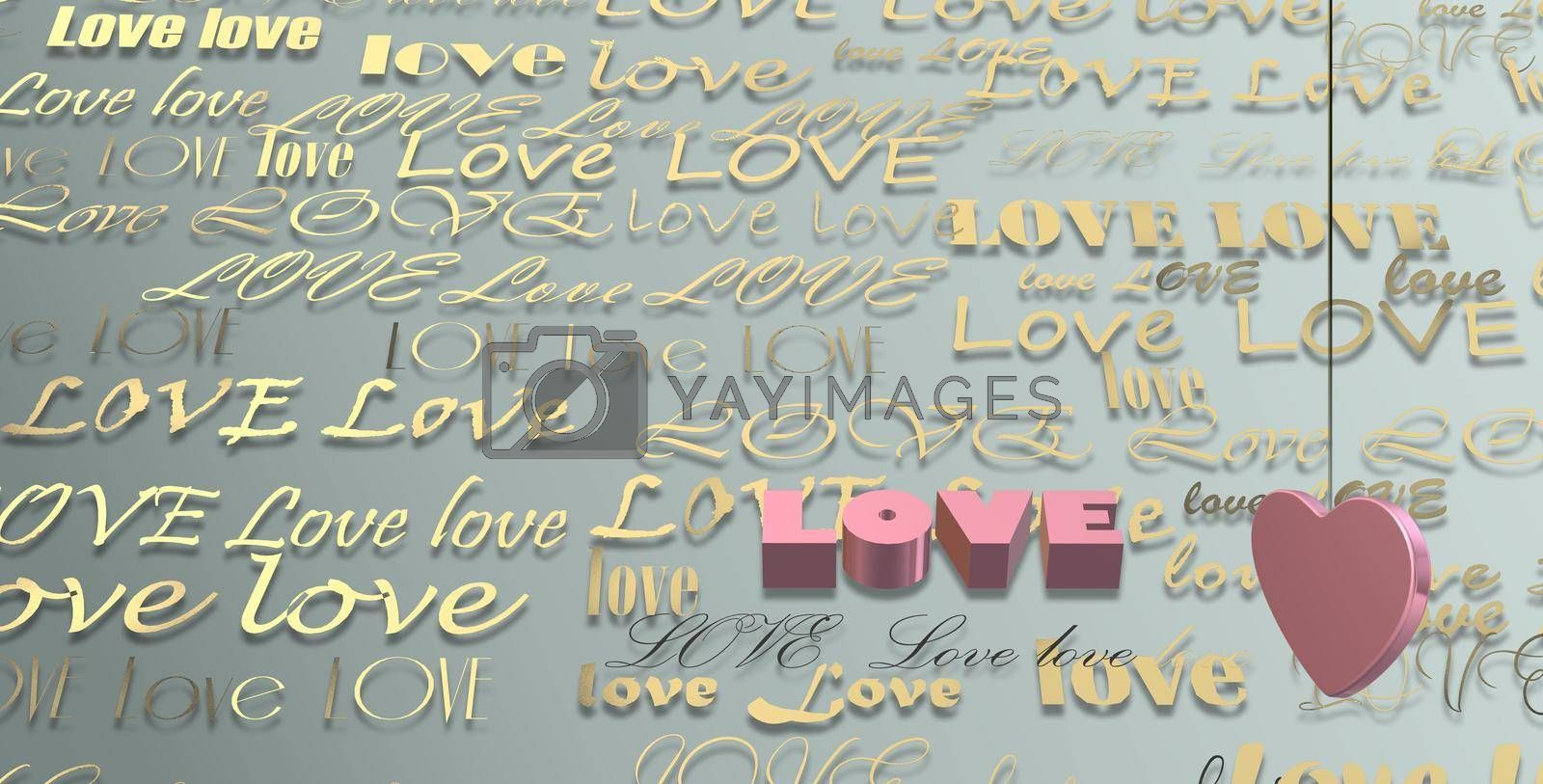 Word LOVE on gold green pastel background, 3D pink heart. Valentines, Love, party invitation, mothers day, 8th March, wedding, greeting card. Place for text. Elegant love design. 3D render
