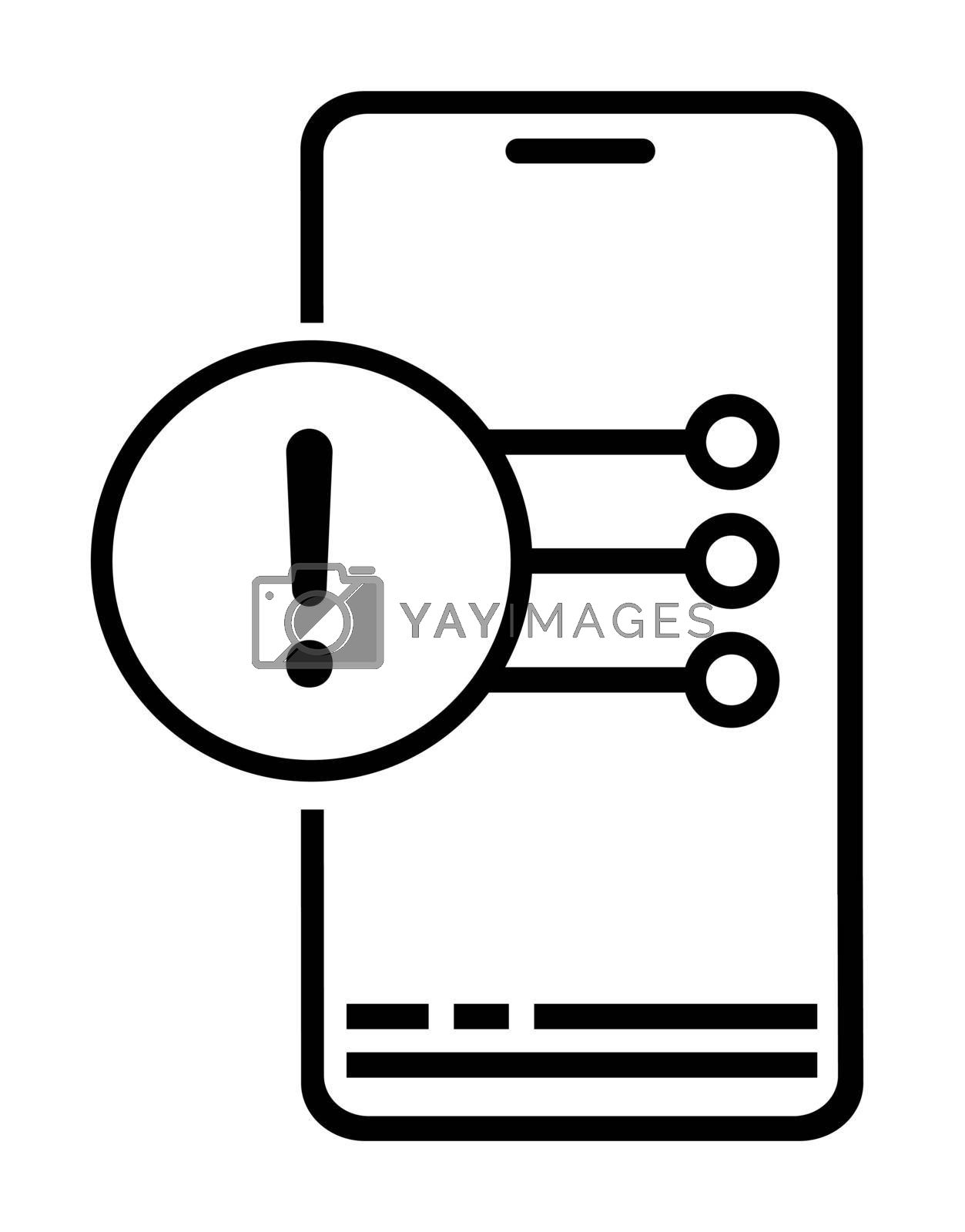 Icon. Smartphone shows warning message on screen with exclamation mark. Mobile phone error. Menu for selecting next action. Vector