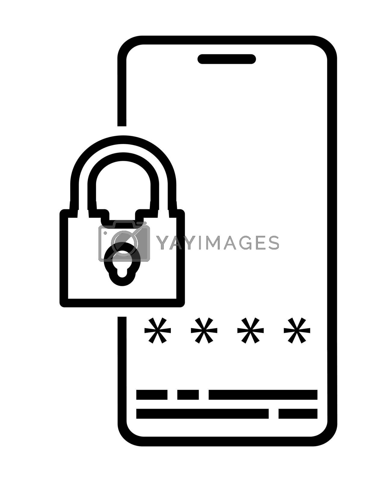 Icon. Smartphone with padlock and password entry window. Mobile phone security. Cybercrimes. Vector