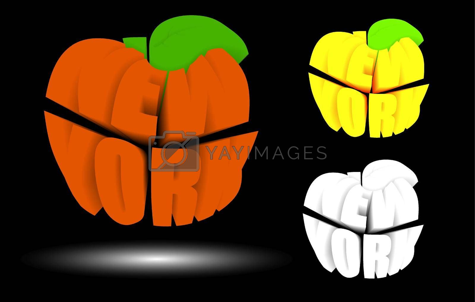 New York is big apple in 3D, metropolis of America. Name NY in shape of apple. Sticker for web design. Vector