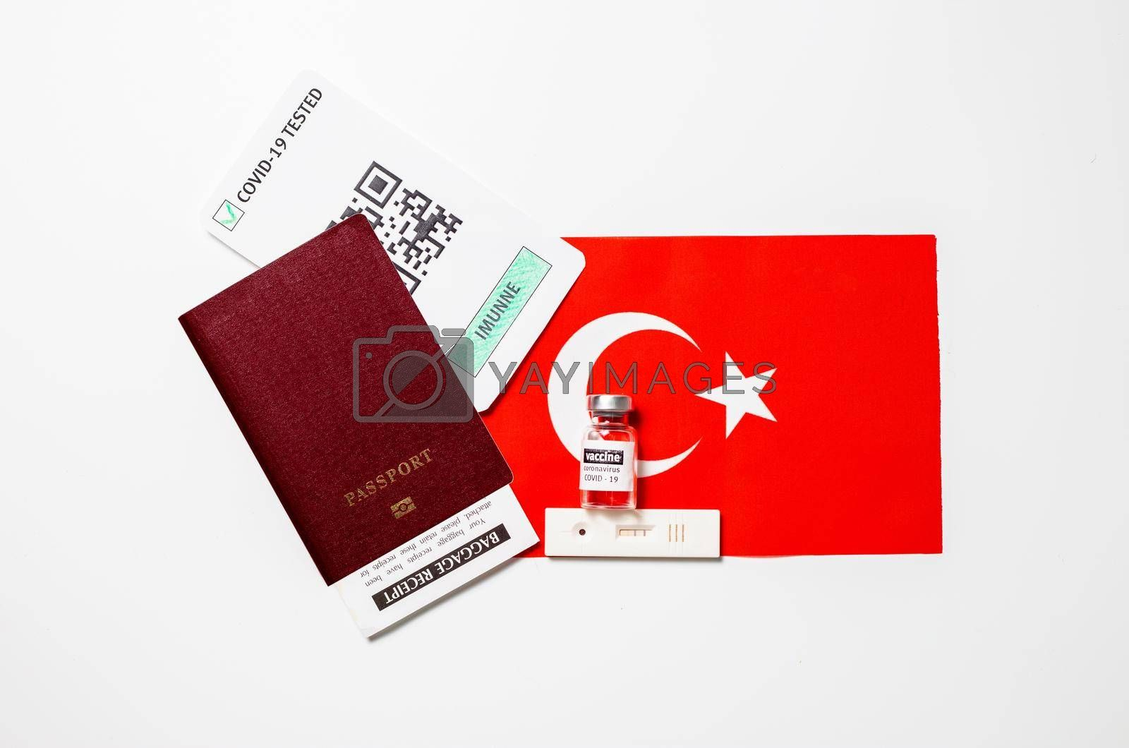 Immunity passport allows you travel during lockdown, Vaccination passport against covid-19 in Turkey. Certificate for people who have had coronavirus or made vaccine.