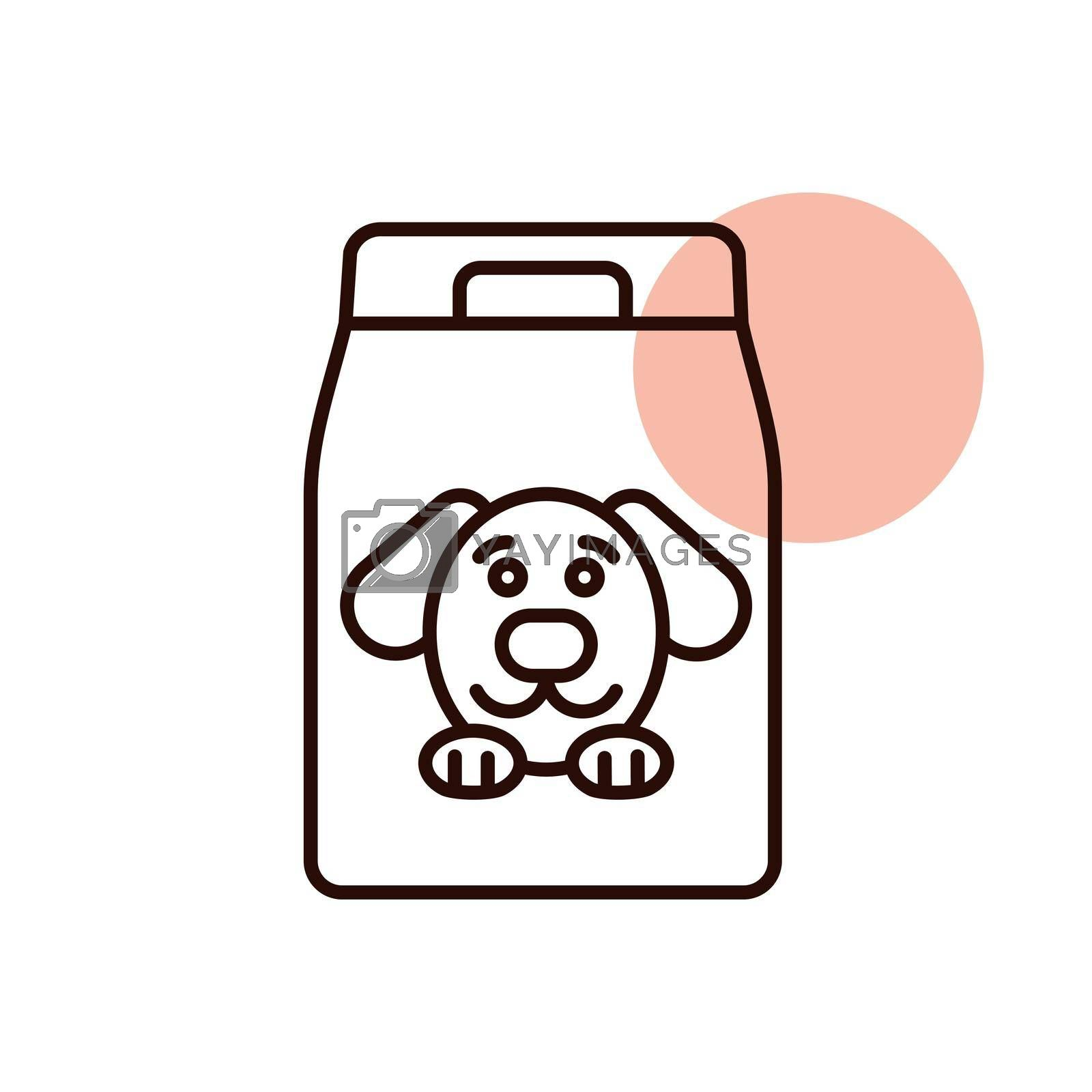 Dog food bag vector icon. Pet animal sign. Graph symbol for pet and veterinary web site and apps design, logo, app, UI
