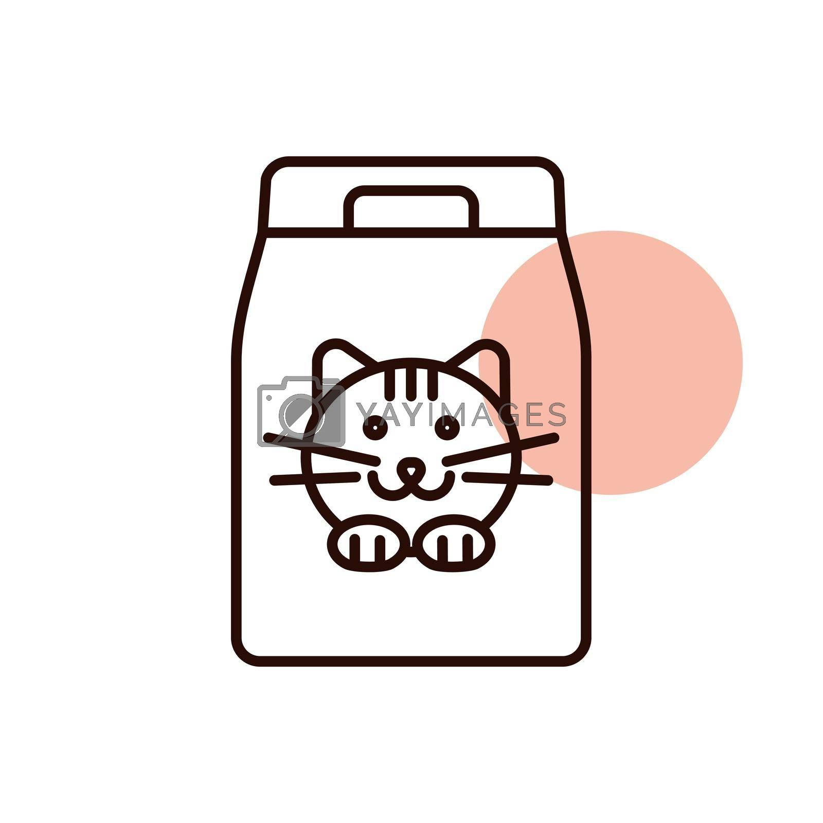 Cat food bag vector icon. Pet animal sign. Graph symbol for pet and veterinary web site and apps design, logo, app, UI