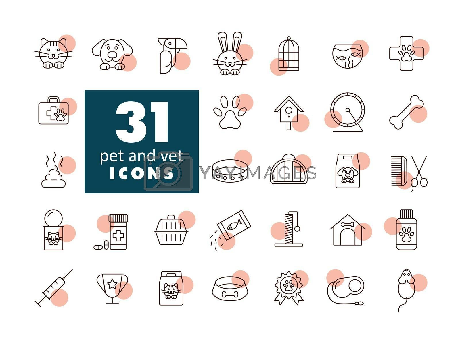 Pet and vet vector icon set. Graph symbol for pet and veterinary web site and apps design, logo, app, UI