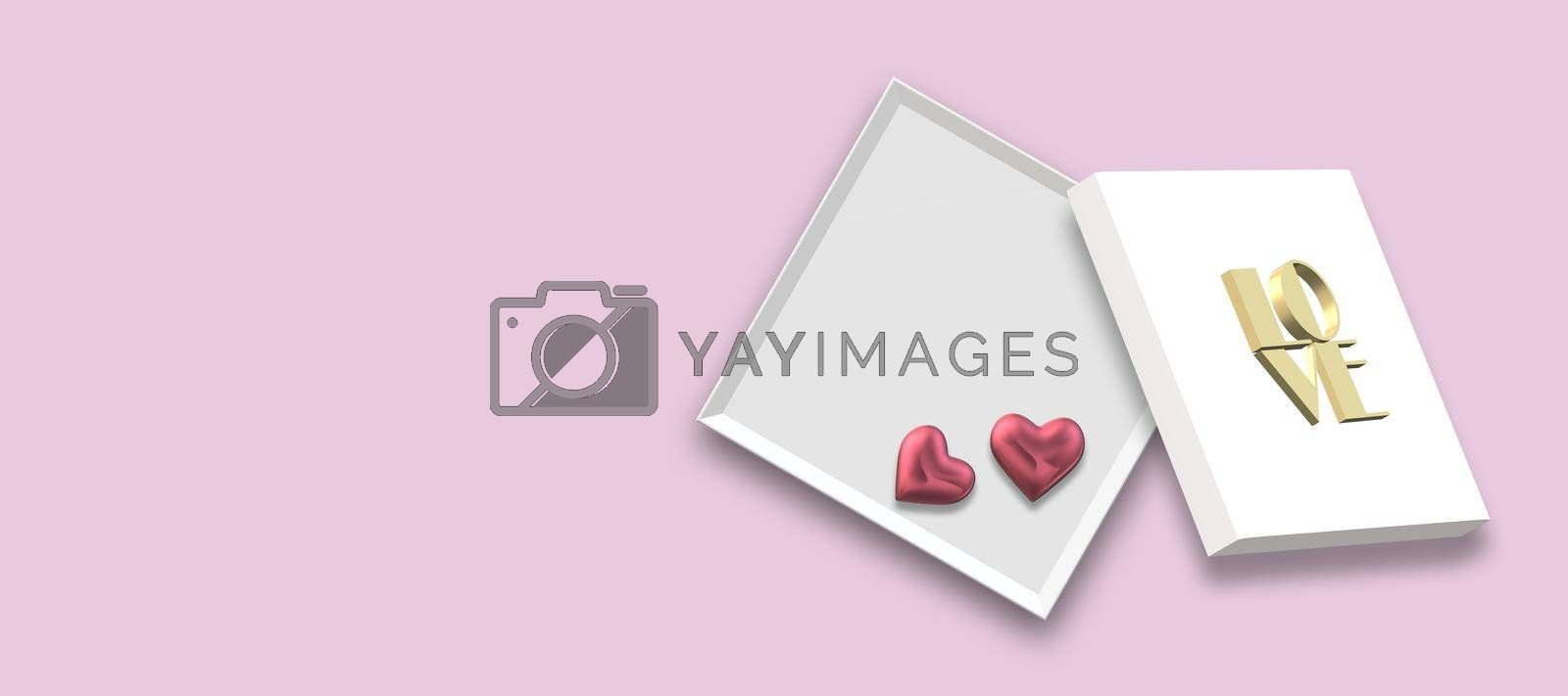 Open gift box, gold bow, pink hearts isolated on pink background. Top view, flat lay, mock up. place for text. Horizontal 3D Illustration