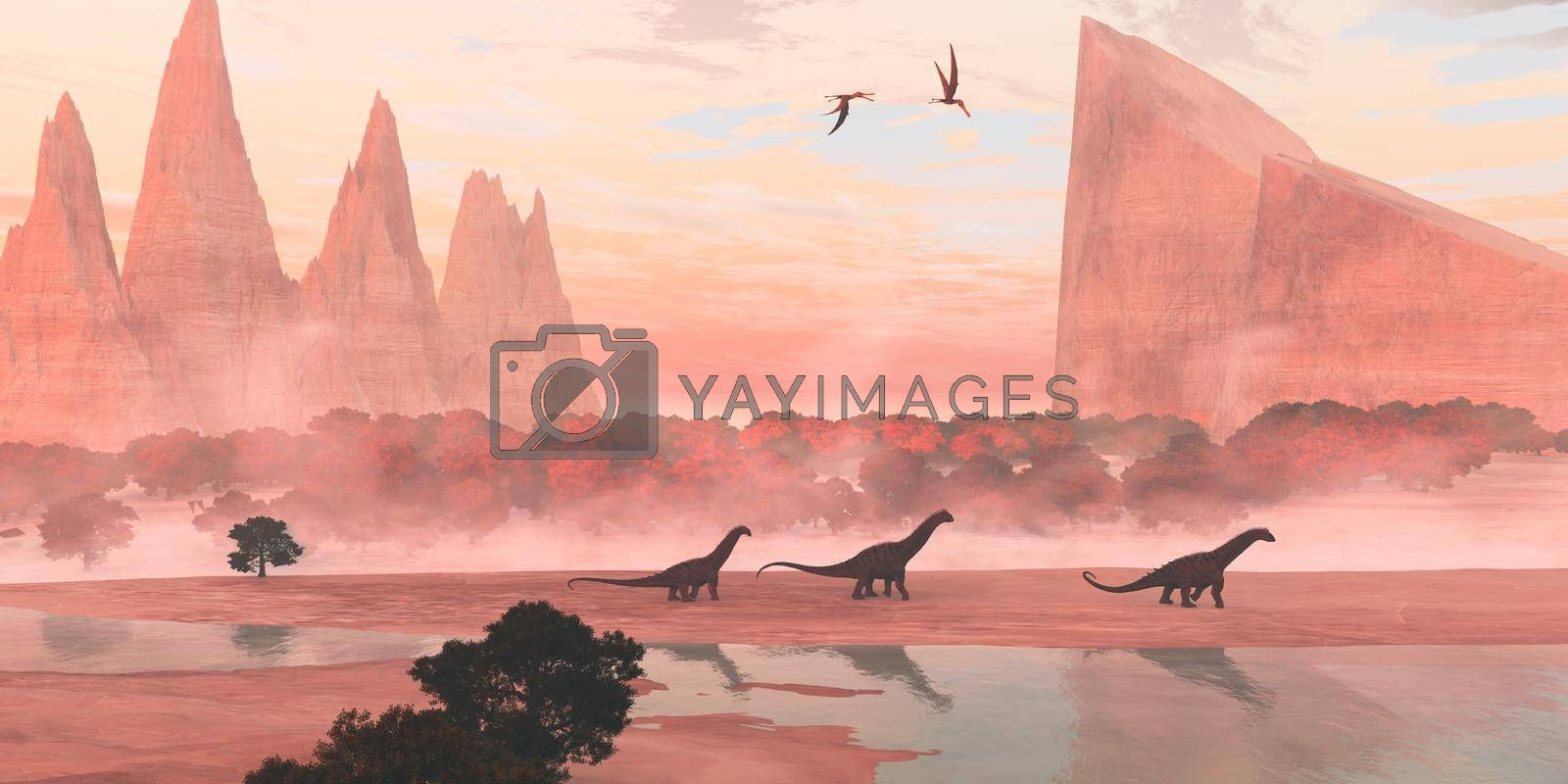 Anhanguera Pterosaurs fly over Alamosaurus sauropod dinosaurs walking along the banks of a river during the Cretaceous Period.