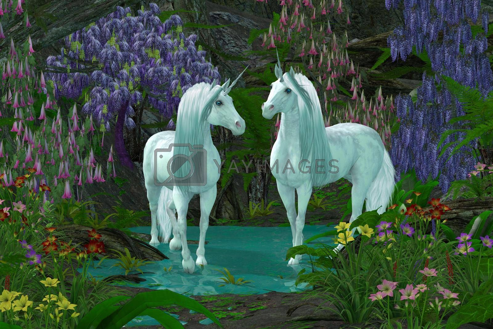Two Unicorns in Forest by Catmando