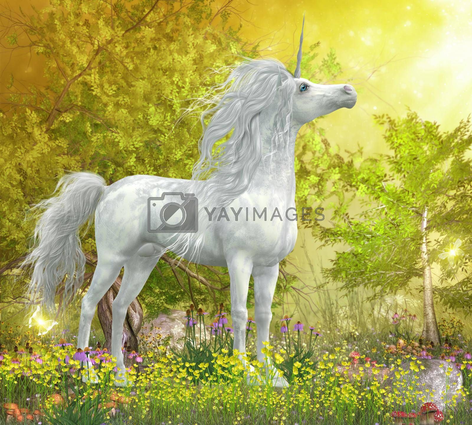 Royalty free image of Unicorn Stallion in Meadow by Catmando