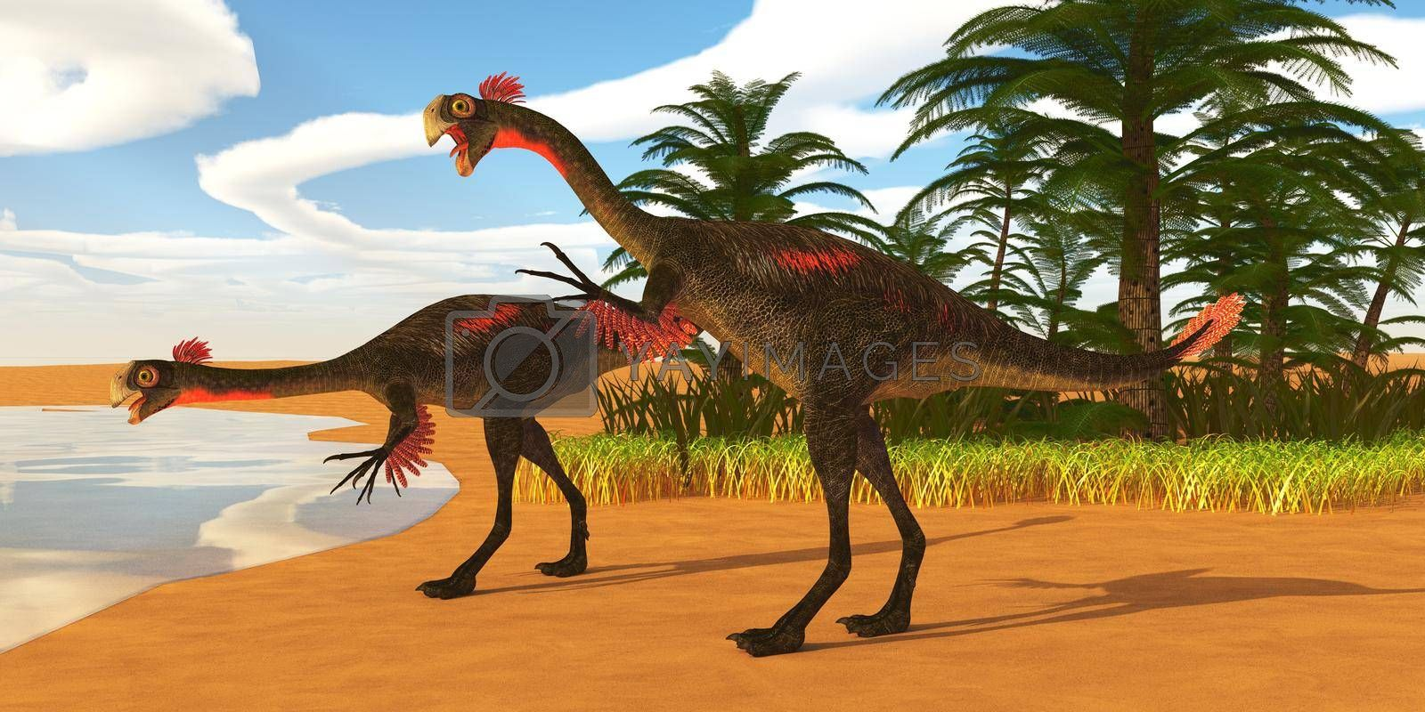 Gigantoraptor theropod dinosaurs come down to a lake to drink in Mongolia, China during the Cretaceous Period.