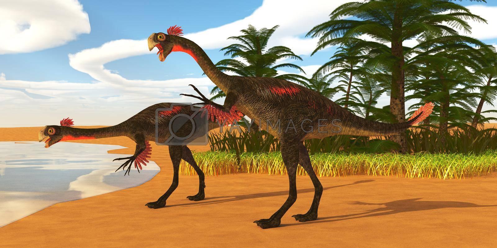 Royalty free image of Gigantoraptor Dinosaur Lakeshore by Catmando