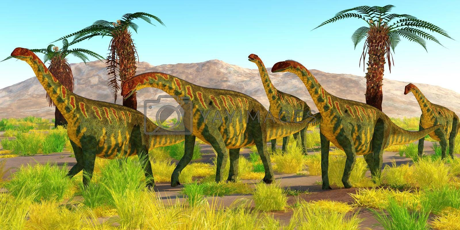 A herd of Jobaria dinosaurs travel together in the Sahara desert, Africa during the Jurassic Period.