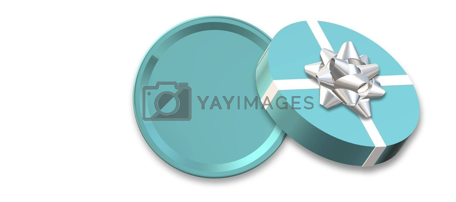 Open round gift box, bow on white background. Turquoise blue box top view, place for text, mock up. Valentines, love design, sale, surprise, gift, birthday, wedding, Valentines love template 3D render