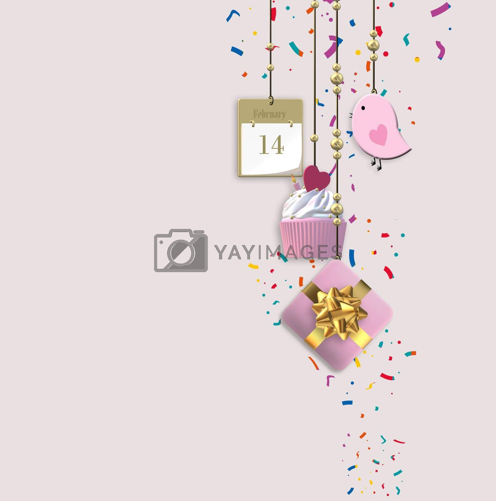 Cute Valentine's card. Hanging heart, gift box, cup cake on pink background. Love, wedding, birthday, Valentin's card. 3D illustration
