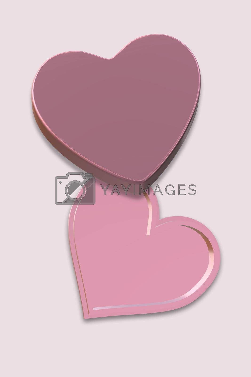 Open pink gift box top view. Love heart shape box on pink background. Love, Valentines, birthday, Mothers day, Christmas, New Year's Day. Mock up, place for text. Vertical. 3d rendering