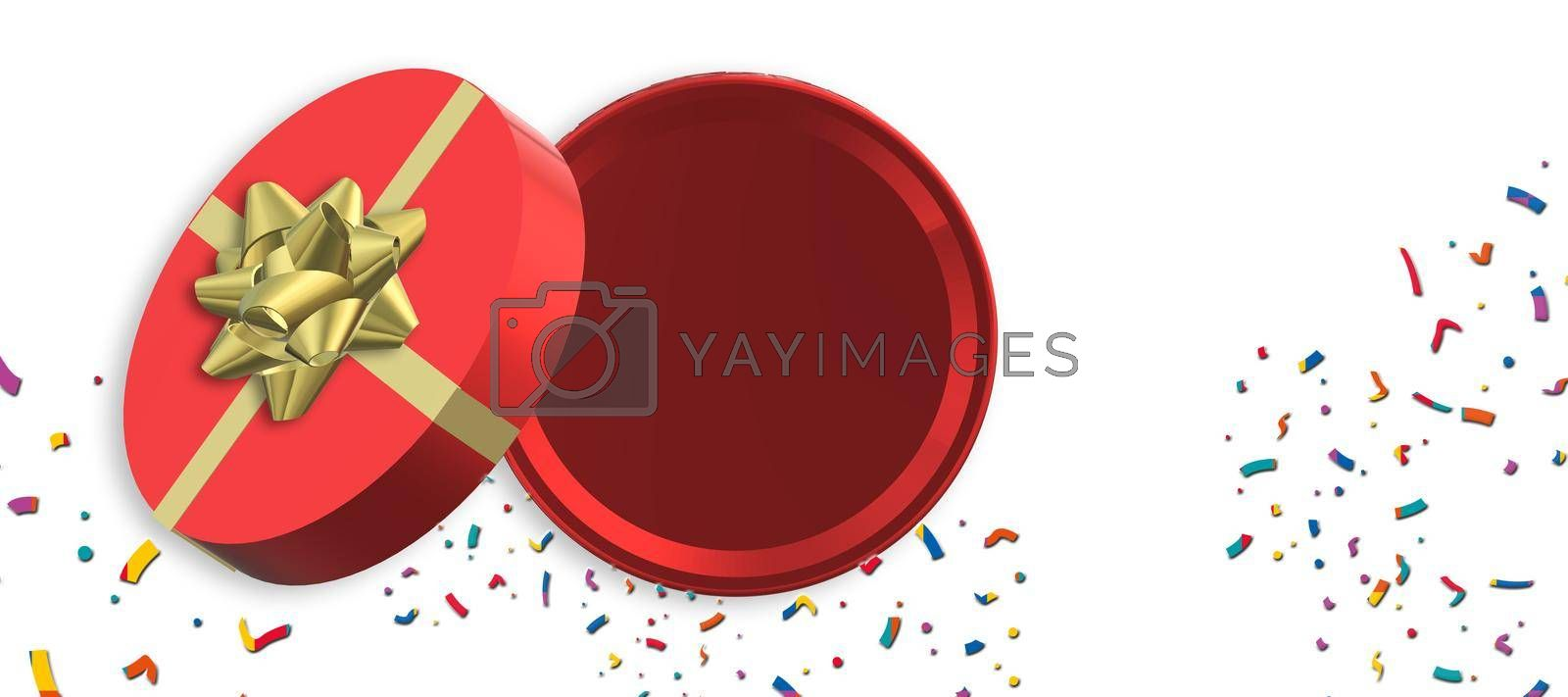 Red gift box with gold ribbon on white. Open box, top view. Mock up. 3D illustration