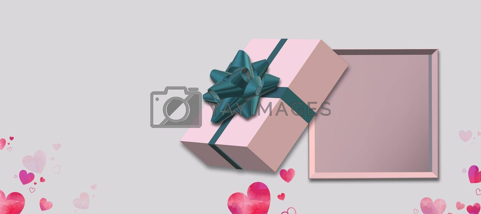 Gift box with bow top view on white background, pink hearts confetti. Pink box flat lay, place for text, mock up. Valentines, love design, sale, surprise, gift, birthday, wedding, Valentines 3D render