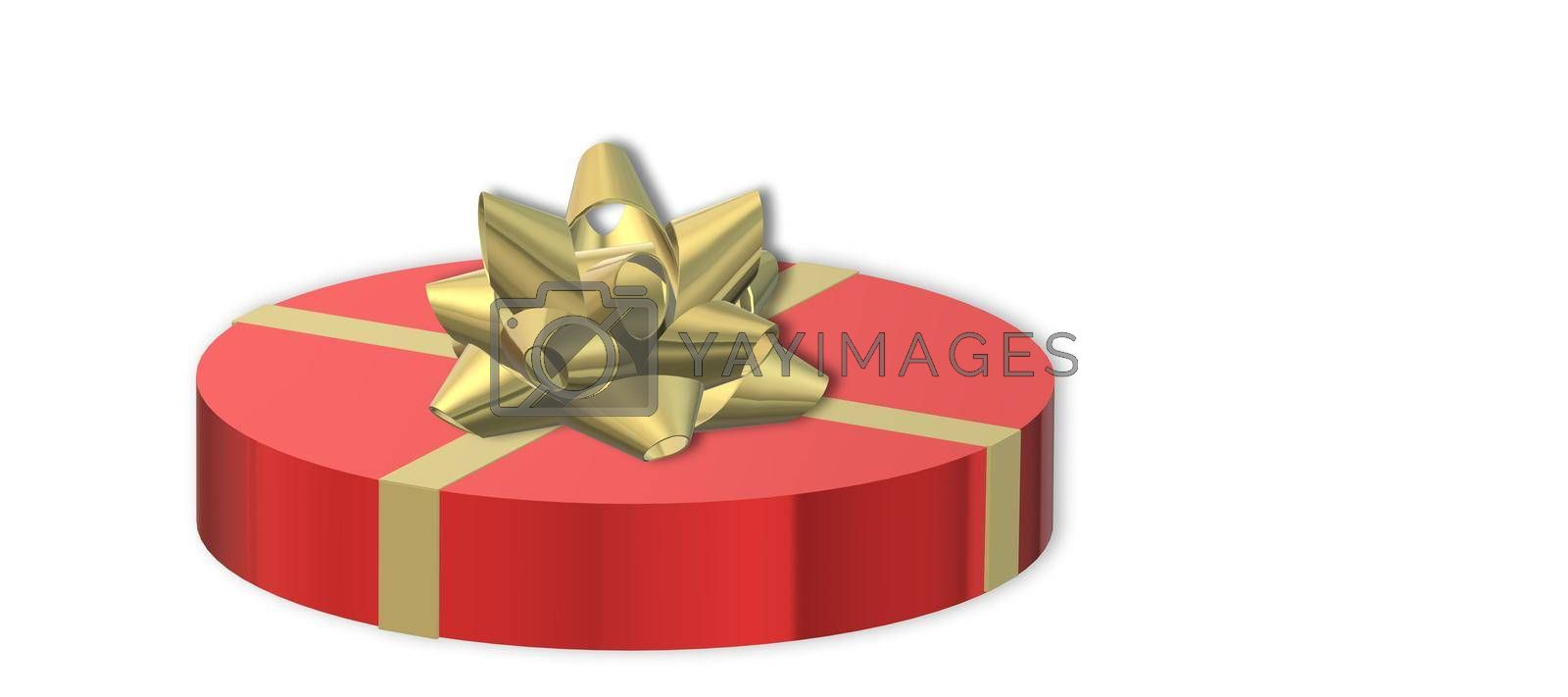 Red gift box with gold ribbon on white. Love, Valentines, birthday, Mothers day, Christmas, New Year's Day. Mock up, place for text. 3D illustration