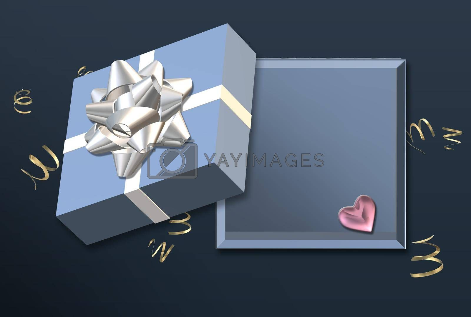 Empty Open gift box template, mock. Love design, Sale banner, surprise poster, flyer. Mock up holiday, flat lay, top view. Love, Valentines, birthday, Mothers day, Christmas place for text 3D render