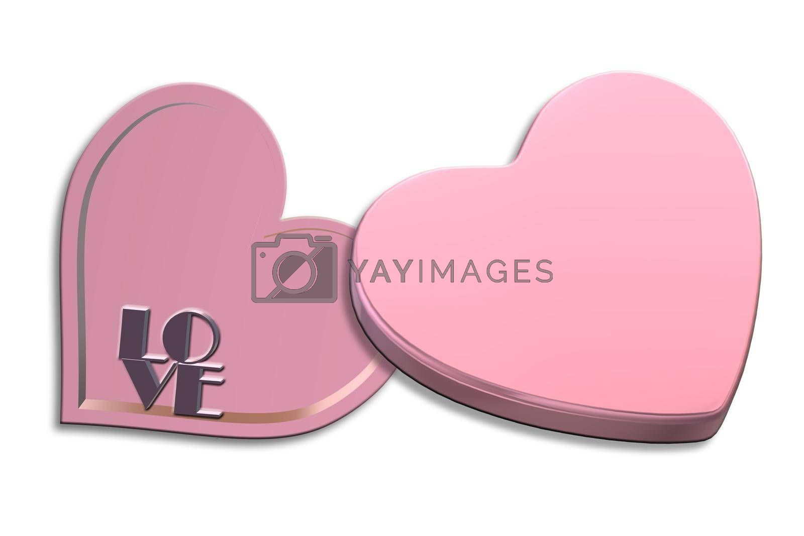 Open pink gift box heart shape top view. Love heart shape box on white background. Love, Valentines, birthday, Mothers day, Christmas, New Year's Day. Mock up, place for text. Isolated. 3d rendering