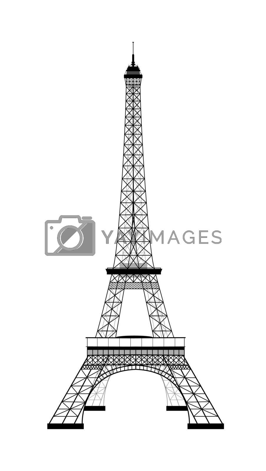 Royalty free image of Eiffel Tower silhouette on white background by liolle