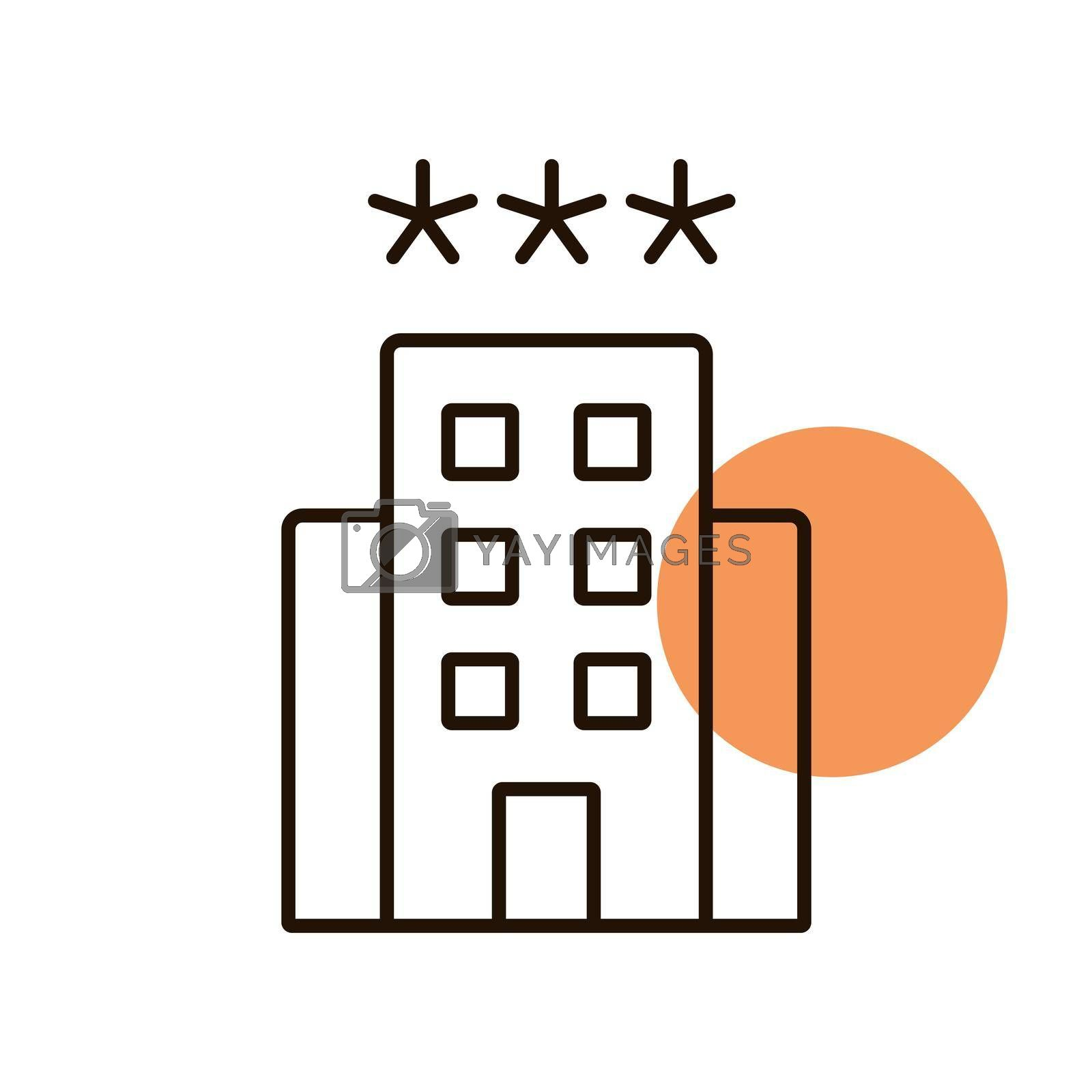 Three star hotel vector icon. Graph symbol for travel and tourism web site and apps design, logo, app, UI