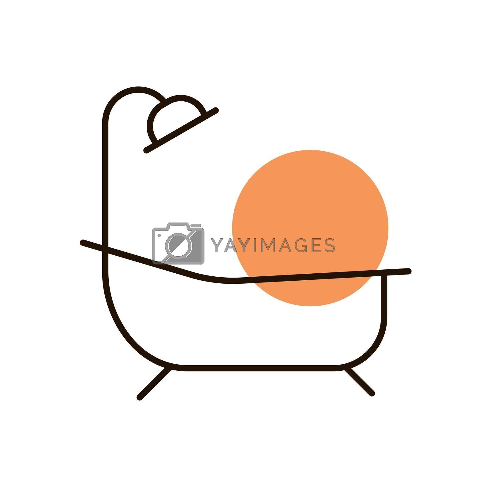 Bathroom vector icon. Bath with shower sign. Graph symbol for travel and tourism web site and apps design, logo, app, UI