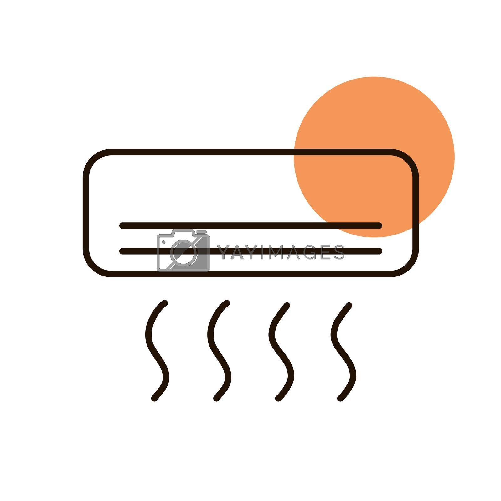 Split-system air conditioner flat vector icon. Graph symbol for household electric web site and apps design, logo, app, UI