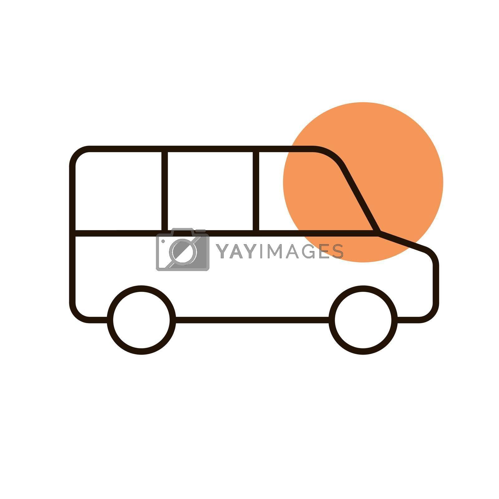 Airport shuttle minivan, shuttle bus vector icon by nosik